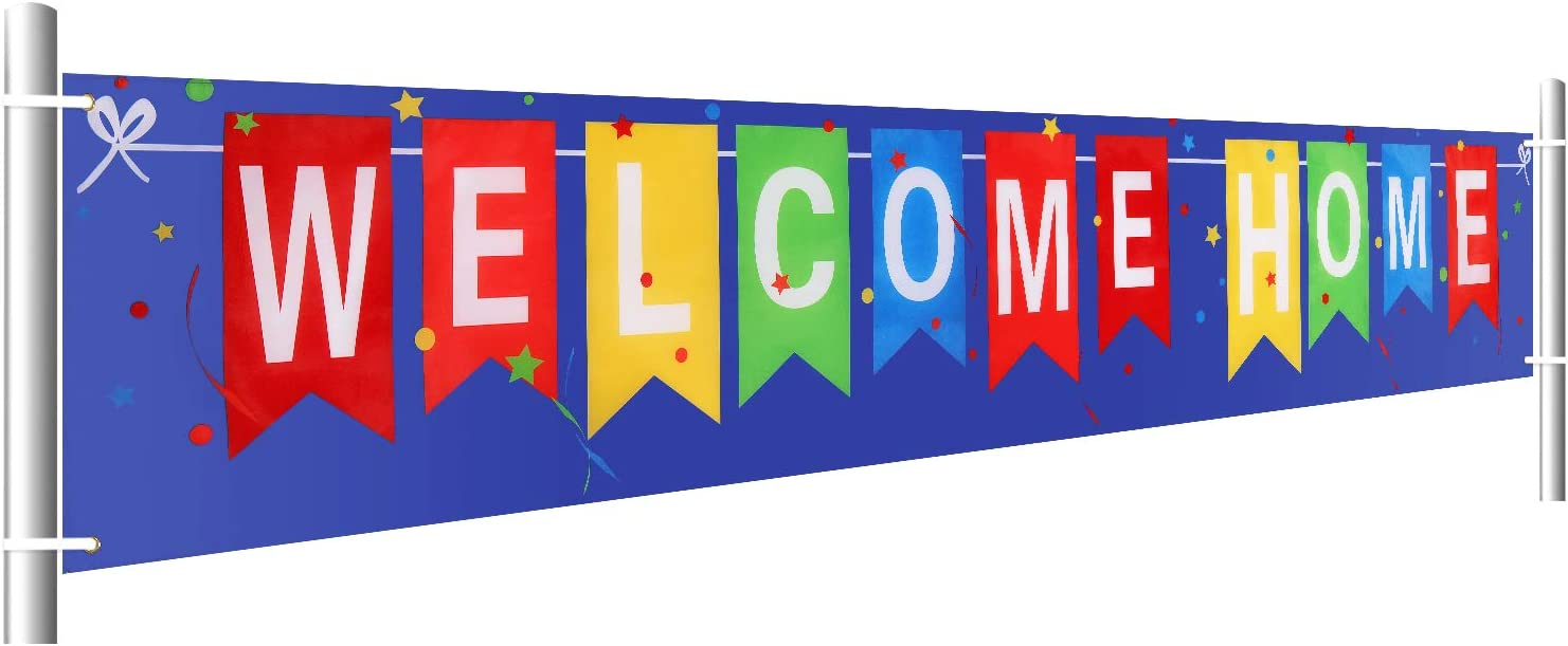 Large Welcome Home Banner Homecoming Return Home Banner Oxford Cloth Welcome Home Hanging Banner with Colorful Letters for Party Ornament Display, 1.6 x 9.8 Feet
