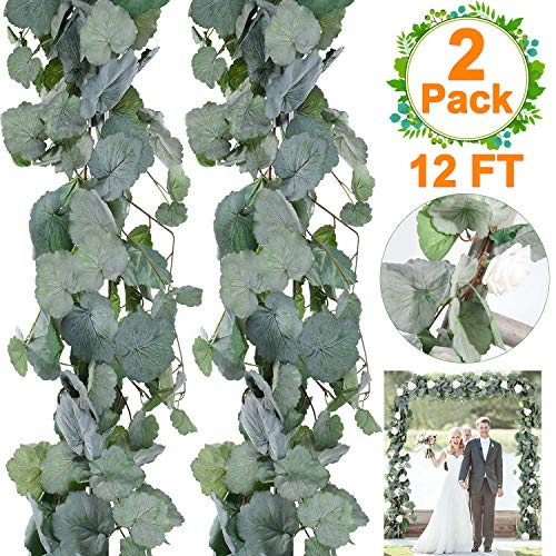 Begonia Leaves - 2 PCS Artificial Greenery Garland Total 12Ft Begonia Leaf Garland Vines Hanging Fake Silk Begonia String Artificial Ivy Garland for Wedding Decoration Arch Party Wall Indoor/Outdoor Decor July Deals