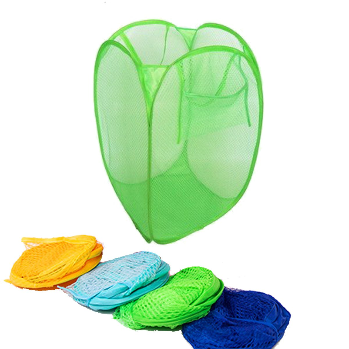 Korb flach Receiving Korb f/ür Kleidung Spielzeug Aufbewahrung blau Tpocean Faltbare Mesh Pop-Up-W/äschekorb