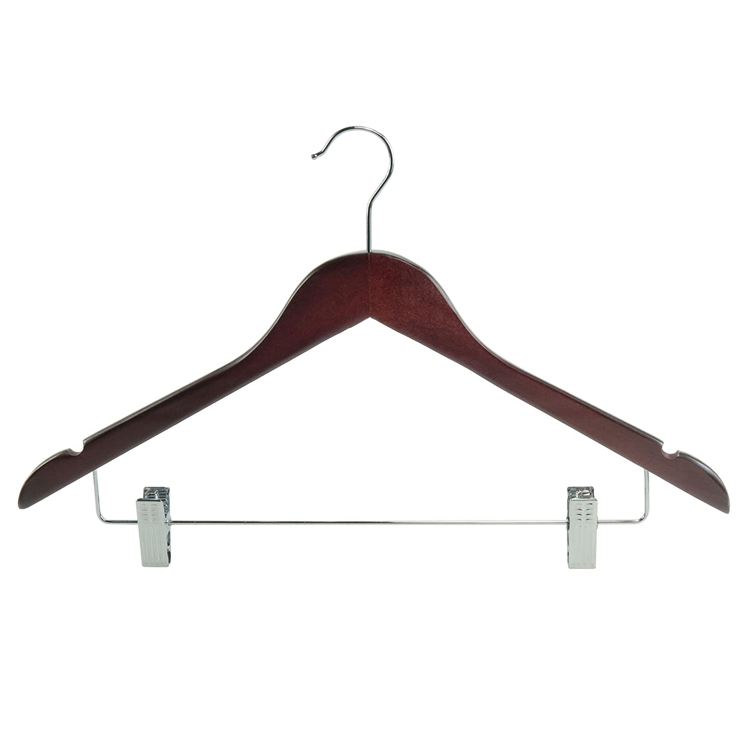HANGERWORLD 45cm Mahogany Wooden Clothes Hangers with Trouser/Skirt Clips, Pack of 25 WH-45-CLIP-MAHOGANY_25