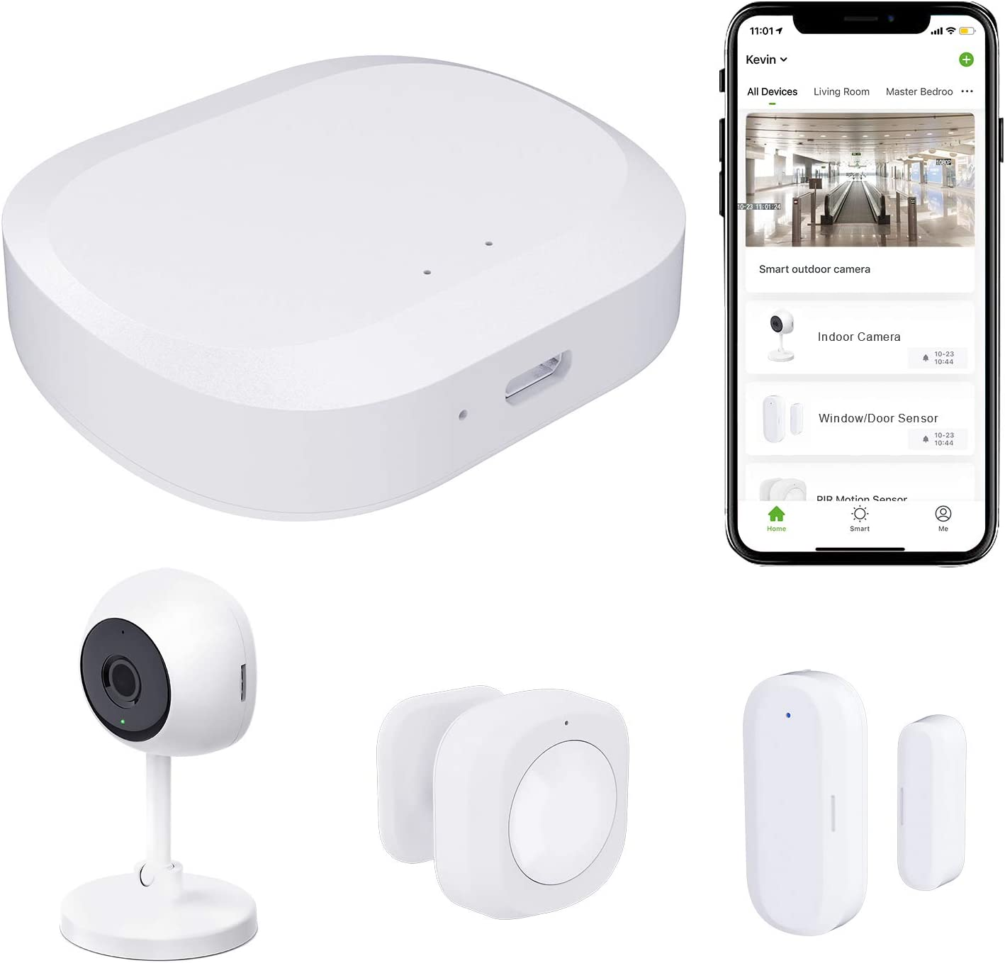 JLAZGJ Home Security System Alarm Home Security kit 4-Piece Alarm System Home wirelessly, Camera Window Door Alarms, 24 Hours Professional Home Safeguard Support 2.4Ghz WiFi(4 Pieces)