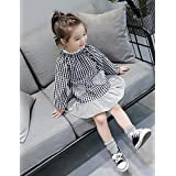YANYANGirlDress Girl's Casual/Daily Holiday Check Dress, Cotton Polyester Spring Fall Long Sleeves Cute Black Red