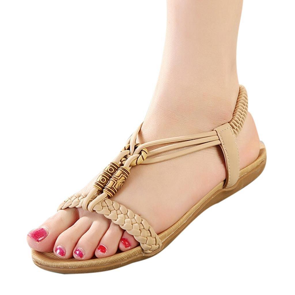 Maybest Women Bohemian Style Comfort Design Folk Style Beaded Peep Toe Sandals Flat & Slim Sole Sandals (Beige 8 B (M) US)