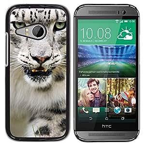 PC/Aluminum Funda Carcasa protectora para HTC ONE MINI 2 / M8 MINI Angry Roar Leopard Snow White Furry / JUSTGO PHONE PROTECTOR