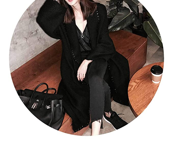 Amazon.com: Designer Fall/Winter Tweed Wool Maxi Oversized Long Coat Outerwear Manteau Femme Abrigos Mujer: Clothing