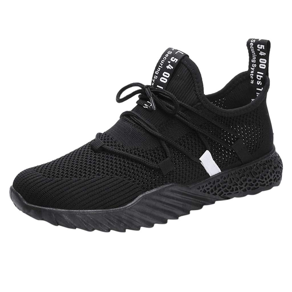 Caopixx Sneakers for Men Mesh Lace-up Breathable Flat Sneakers Running Shoes Casual Shoes Black