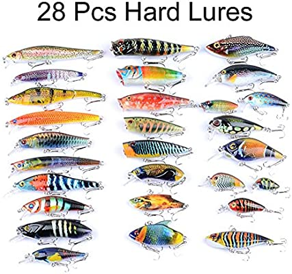 Juemenzhe Fishing Lures Kit Mixed Including Minnow CrankBait with Hooks for  Saltwater Freshwater Trout Bass Salmon Fishing