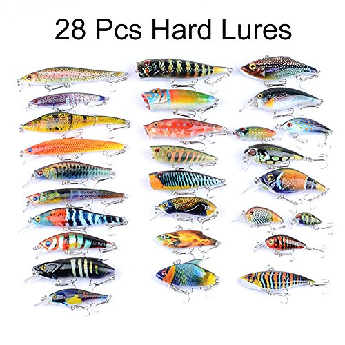 Juemenzhe Hard Fishing Lure Set 28 Types Bass Fishing Lure Kit Colorful Minnow Popper Crank Rattlin VIB for Saltwater or Freshwater Running