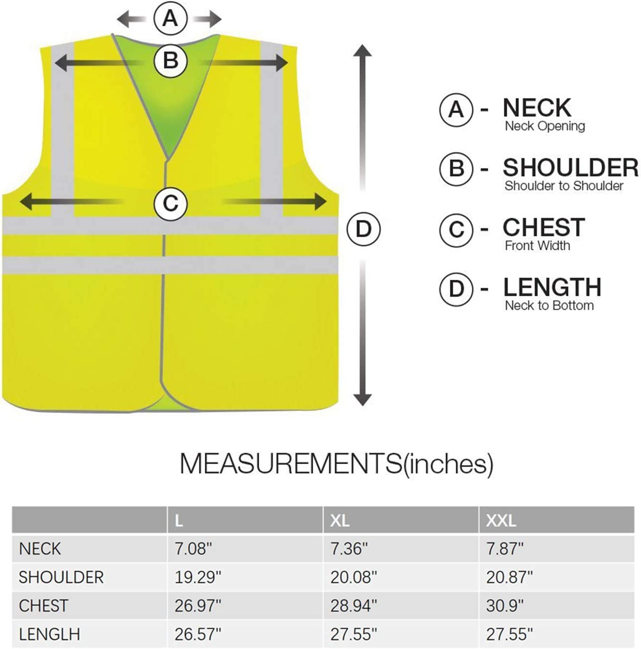 GOJOOASIS High Visibility Safety Vest Reflective Silver Strip ANSI//ISEA Standard B# - L x 2pcs Bright Breathable Neon Yellow