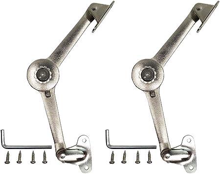 amortiguador de bisagras bisagra plegable ajustable con tornillos Bisagras de soporte de tapa con cierre suave 2 unidades para armario