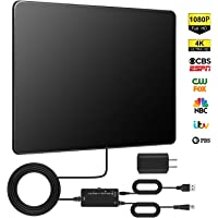 [Upgraded 2020] TV Antenna, Digital HDTV Antenna Indoor, Up to 130+ Miles Long Range with PCB Microchip, Support 4K HD1080P UHF VHF Free Local TV Channels-16.5ft Coax Cable (Black)