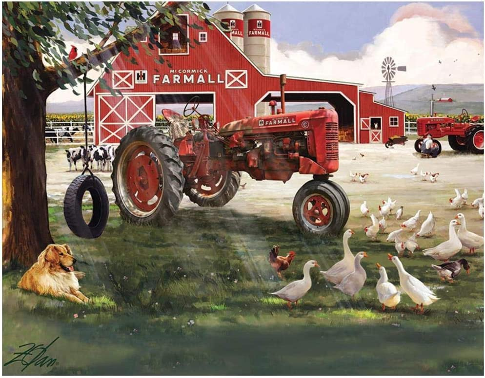 The Jigsaw Puzzle Factory Farmall Tractor Big Red Barn Farm Animals Puzzle Game for Kids and Adults with Collectible Box-500pcs