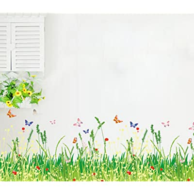 Windspeed Baby Bedroom Butterfly Grass Flower Wall Sticker Decor Decals,Baseboard Removable Wall Stickers: Baby