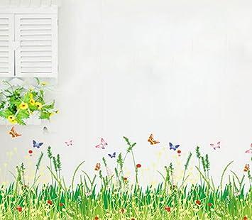 Amazoncom Windspeed Baby Bedroom Butterfly Grass Flower Wall - Wall decals grass