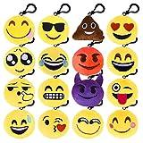 Kuuqa Emoji Plush Pillows Keychain Emoji Decoration, Emoji Party Supplies (16 Pack)