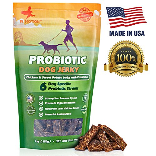 Cheapest Healthy Dog Treats Probiotic Jerky- All Natural Chicken Sweet Potato Pet Chews and Probiotics Supplement - Chewable Treat for Dogs Best for Pets Wellness, Gas or Diarrhea - Made in USA Only: 6ounces Check this out.