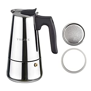 YOLIFE 6 Cup Stovetop Espresso Maker,Stainless Steel Moka Pot,Contain 1 Set Replacement Gasket and Filter Plate Bundle