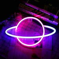 HITECHLIFE Planeet neonlicht,Blauw Roze Planet Neon Signs Light up Art Wall Decor Light-Waterdicht LED-nachtlampje…