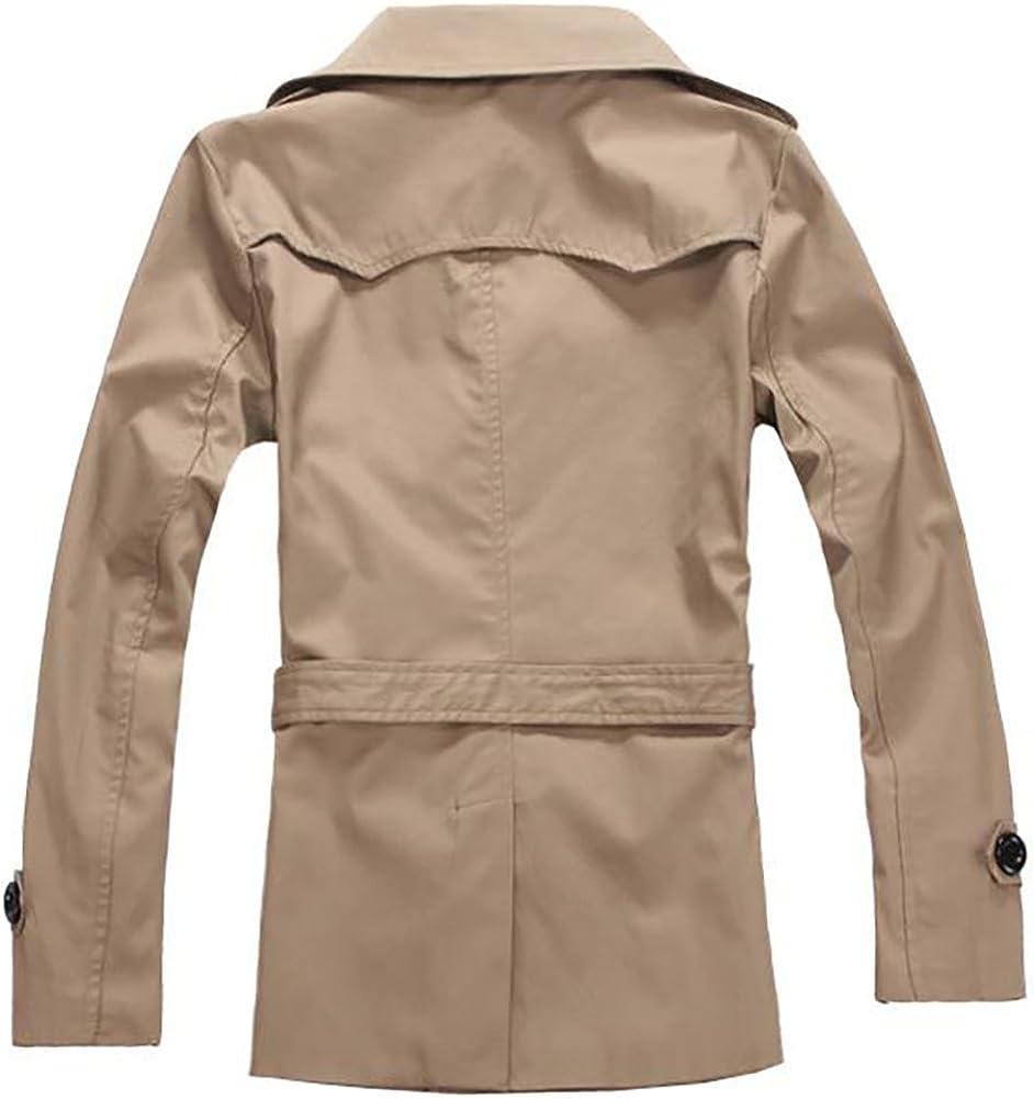 Missmao Übergangsjacke Herren Classic Zweireiher Gürtel Kammgarn Lang Winter Mantel Jacke Bekleidung