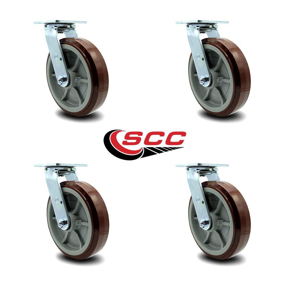 Service Caster - 8'' Heavy Duty Polyurethane Wheel Swivel Casters - Non Marking - 800 lbs/Caster - Set of 4