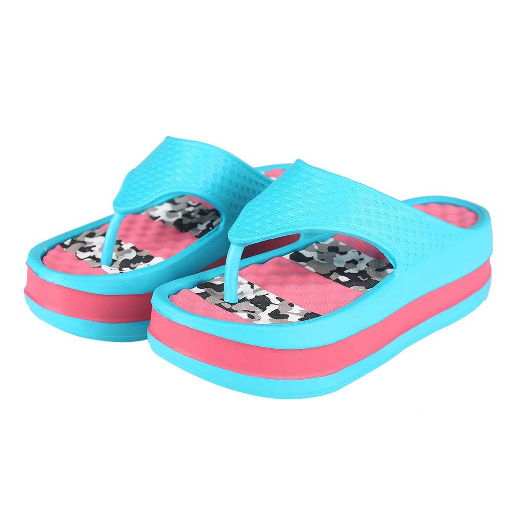 Fashion-zone Womens Lightweight High Heel Flip Flops-Comfortable Wedge Sandals-Summer High Wedge Flip Flops for Beach,Pool (10-10.5 M US, Blue)