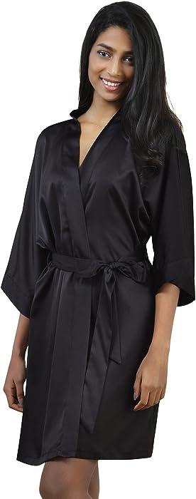 53e403c2af0a AW Womens Satin Robe Short Kimono Robe V-Neck Soft Bathrobe Sleepwear Solid  Color,