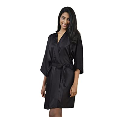 AW Womens Satin Robe Short Kimono Robe V-Neck Soft Bathrobe Sleepwear Solid  Color 87080f89b