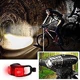 yyan Bicycle Headlight Tail Light Set Bright LED