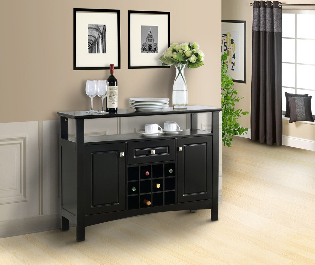 Amazon pilaster designs wood wine rack buffet cabinet amazon pilaster designs wood wine rack buffet cabinet storage console table black finish office products geotapseo Images