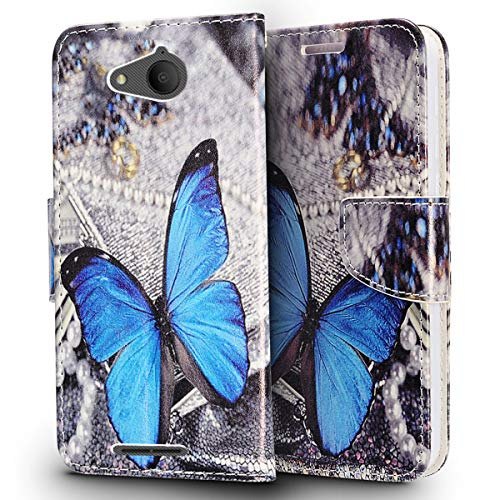 Luckiefind Compatible with LG Fiesta 2 (L164VL/L163BL) / LG X Power 2 (M320) / LG Fiesta LTE (L64VL/L63BL) / LG X Charge, PU Leather Flip Wallet Credit Card Cover Case (Wallet Blue Butterfly) ()