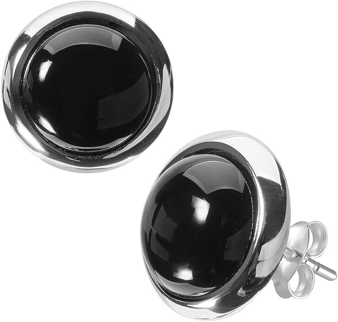 MATERIA Mujer Pendientes Onyx Piedra Preciosa 925plata negro alrededor de rodio en joyero # So 349_ B4