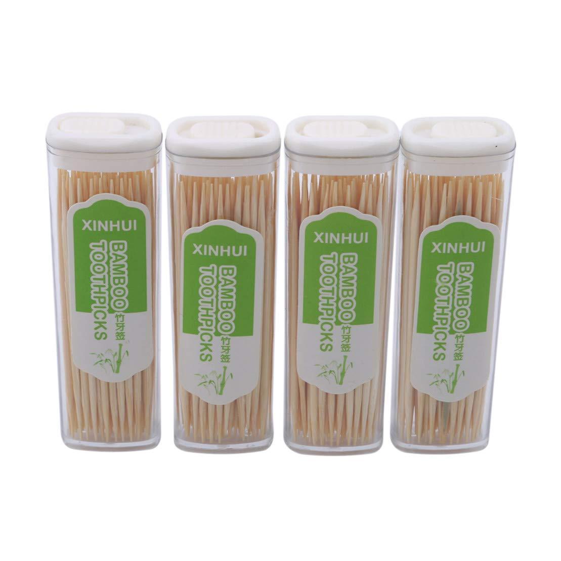 Kissherely 4 Boxen/Set Bambuszahnstocher Mit Box Glatte Oberfläche Cocktail Sticks Haushalt Wegwerfzahnstocher