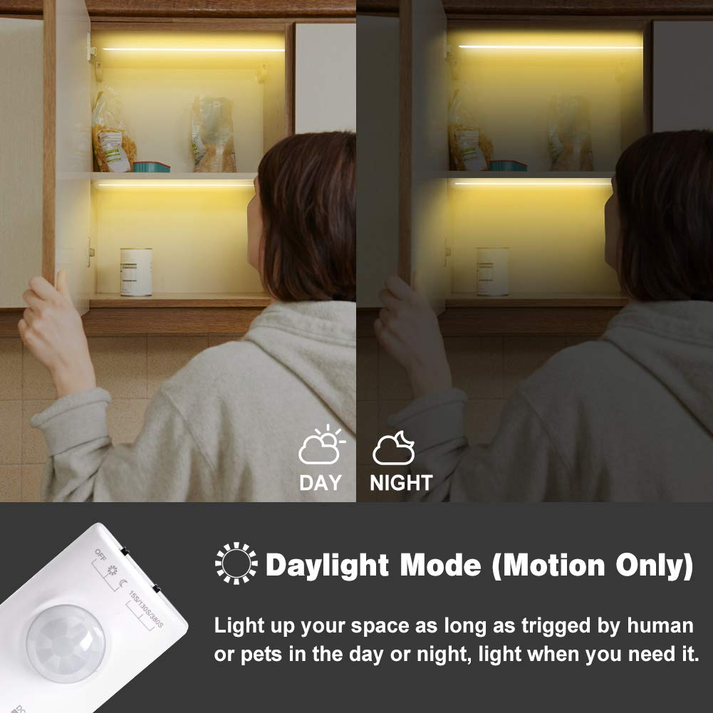 Rechargeable 1100Mah Battery 39 inch 1 Pack Under Cabinet Lighting Derlson Warm Color Automatic Sensor Night LED Light Strip for Bathroom Wardrobe Kitchen Motion Activated LED Strip Lights Kit