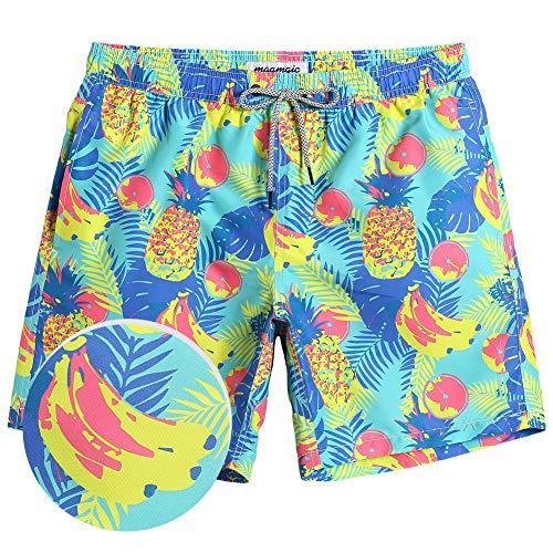 MaaMgic Mens Boys Short Swim Trunks Mens Pineapple Bathing Suits Slim Fit Swim Shorts Swimsuit for Men
