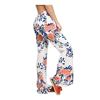 Umgee Women High Waist Floral Print Wide Leg Pants with Smocked Elastic Waistband at Women's Clothing store