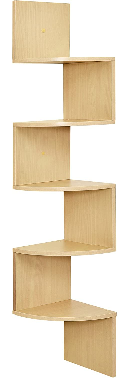 Greenco 5 Tier Wall Mount Corner Shelves Natural Finish