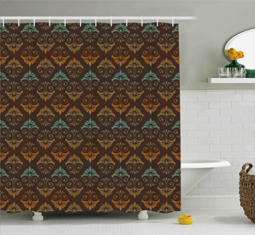 Ambesonne Damask Shower Curtain by, Vintage Victorian Style Floral with Arabesque Effects Symmetric Artsy Design, Fabric Bathroom Decor Set with Hooks, 75 Inches Long, Brown Amber (Victorian Style Fabric)