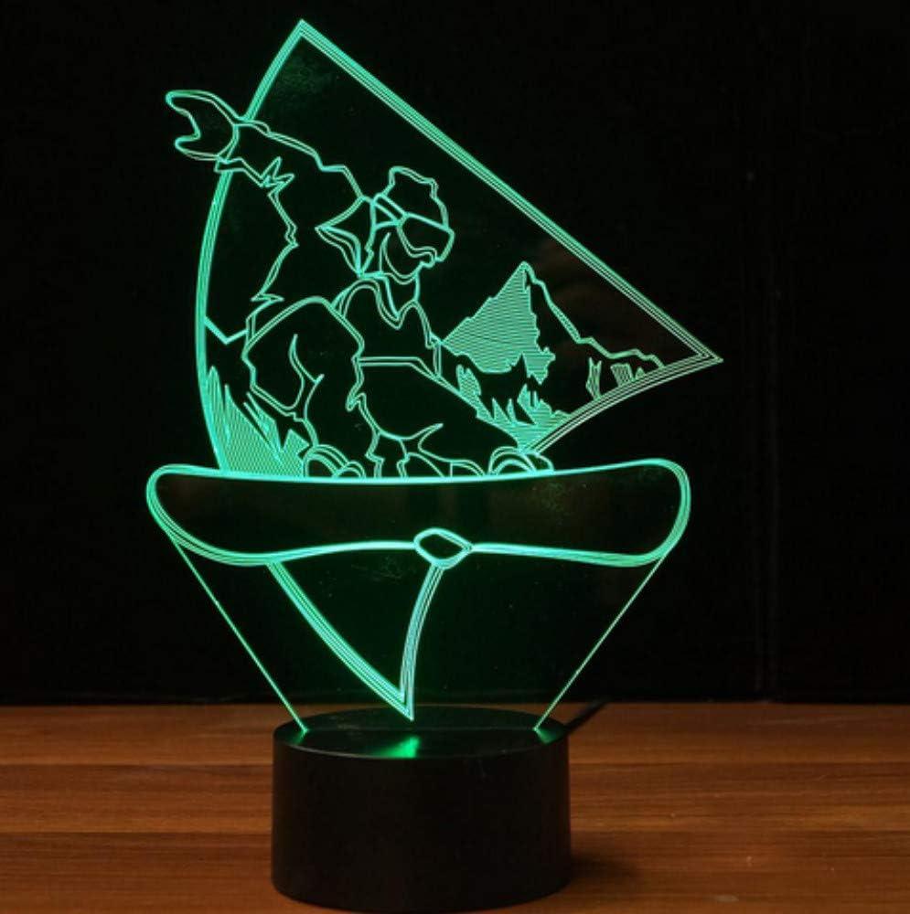 Snowboard 3D LED luz de la noche USB lámpara de mesa visual sueño del bebé accesorio de luz dormitorio junto a la cama decoración para el hogar regalos