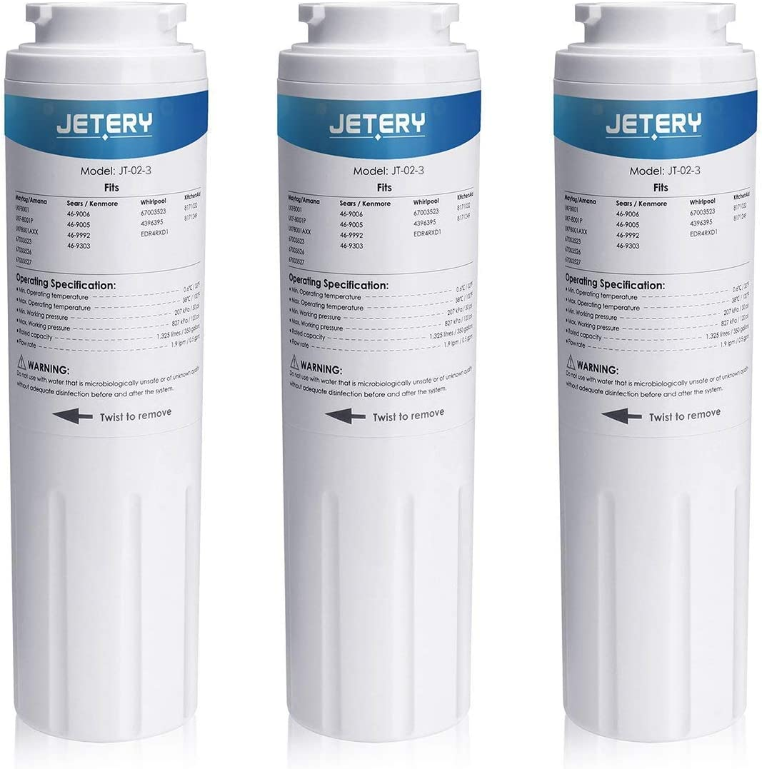 JETERY UKF8001 Replacement Refrigerator Water Filter, Compatible with Maytag UKF8001AXX UKF-8001P, 4396395 469006, EDR4RXD1, Kenmore 469006, 3 Pack
