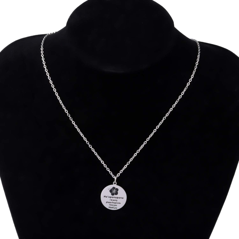 Hooponopono Prayer Necklace Im Sorry Please Forgive Me Thank You I Love You Spiritual Necklace