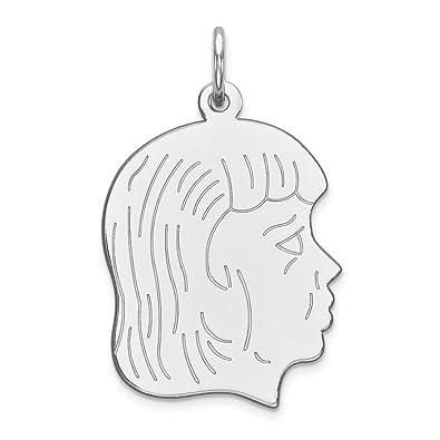 Sterling Silver Engraveable Polished Front//Satin Back Disc Charm Pendant