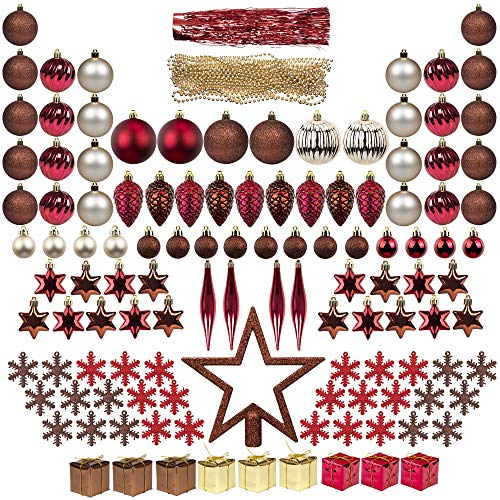 ITART 122ct Christmas Tree Ornaments Assortment Including Tree Topper Balls Snowflakes Star Pine Cone Miniature Gift Boxes Tinsel and Beads Garlands (Red Brown and Champagne)