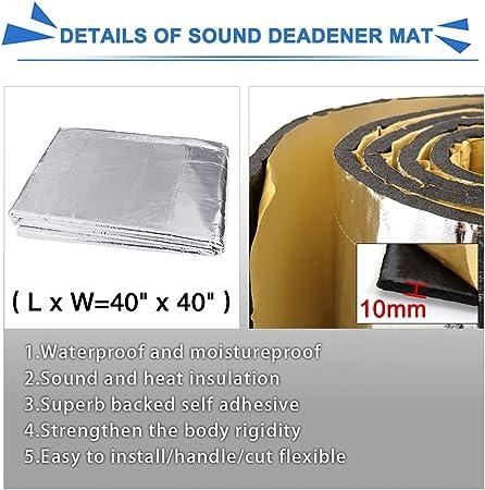 uxcell Car 10.76sqft Heat Insulation Sound Deadener Road Noise Dampener Mat 40 x 40