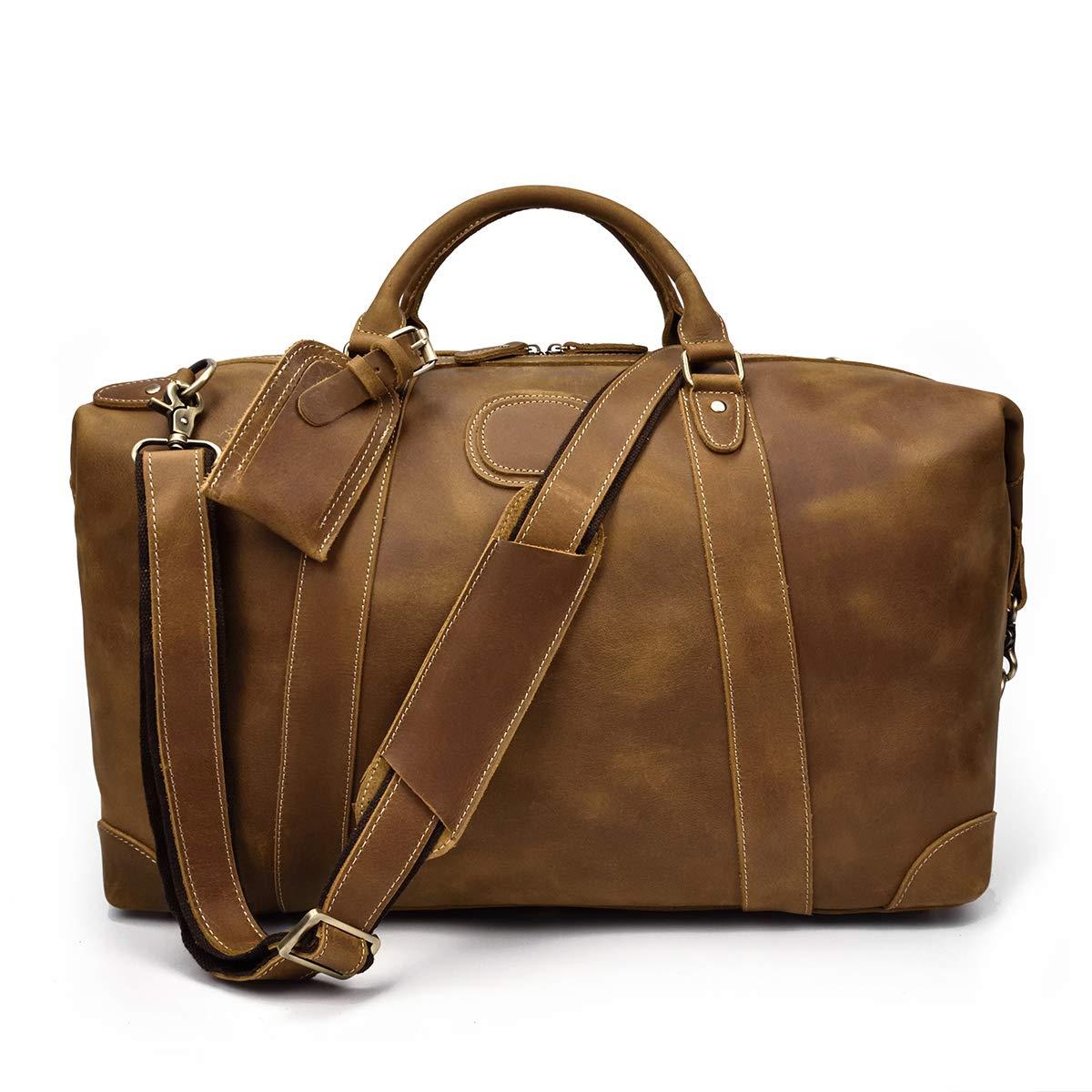 ボストンバッグ 本革 メンズ レザー トラベルバッグ 旅行鞄 トラベル鞄 底鋲付き 耐久 ショルダーバッグ 容量拡張 旅行バッグ 出張 おしゃれ 2泊 3泊  ライトブラウン B07DW61WG4