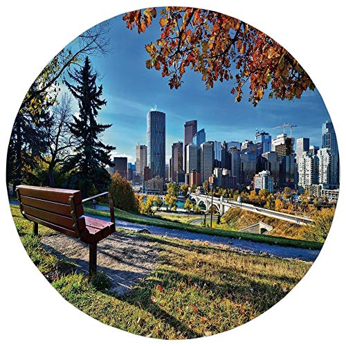 Round Rug Mat Carpet,City,Park Bench Overlooking The Skyline of Calgary Alberta During Autumn Tranquil Urban,Multicolor,Flannel Microfiber Non-Slip Soft Absorbent,for Kitchen Floor Bathroom]()