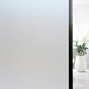 2 Pack Decorative Frosted Privacy Window Film for Sliding Door Home Office Removable Non Adhesive Glass Window Film for Dogs Static Cling Privacy Window Sticker for Bathroom Home 17.5 x 78.7 inch (2)
