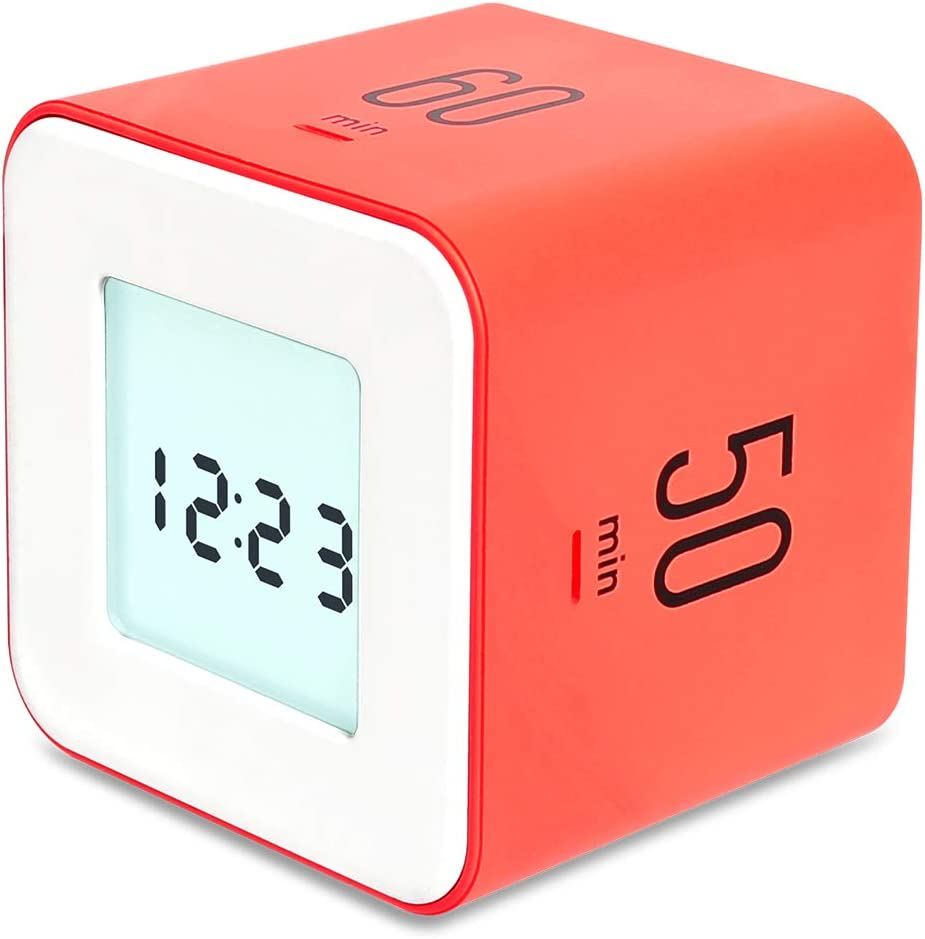mooas Multi Cube Timer/Rotating Timer, Simple Operation, Clock & Alarm (Neon Coral)