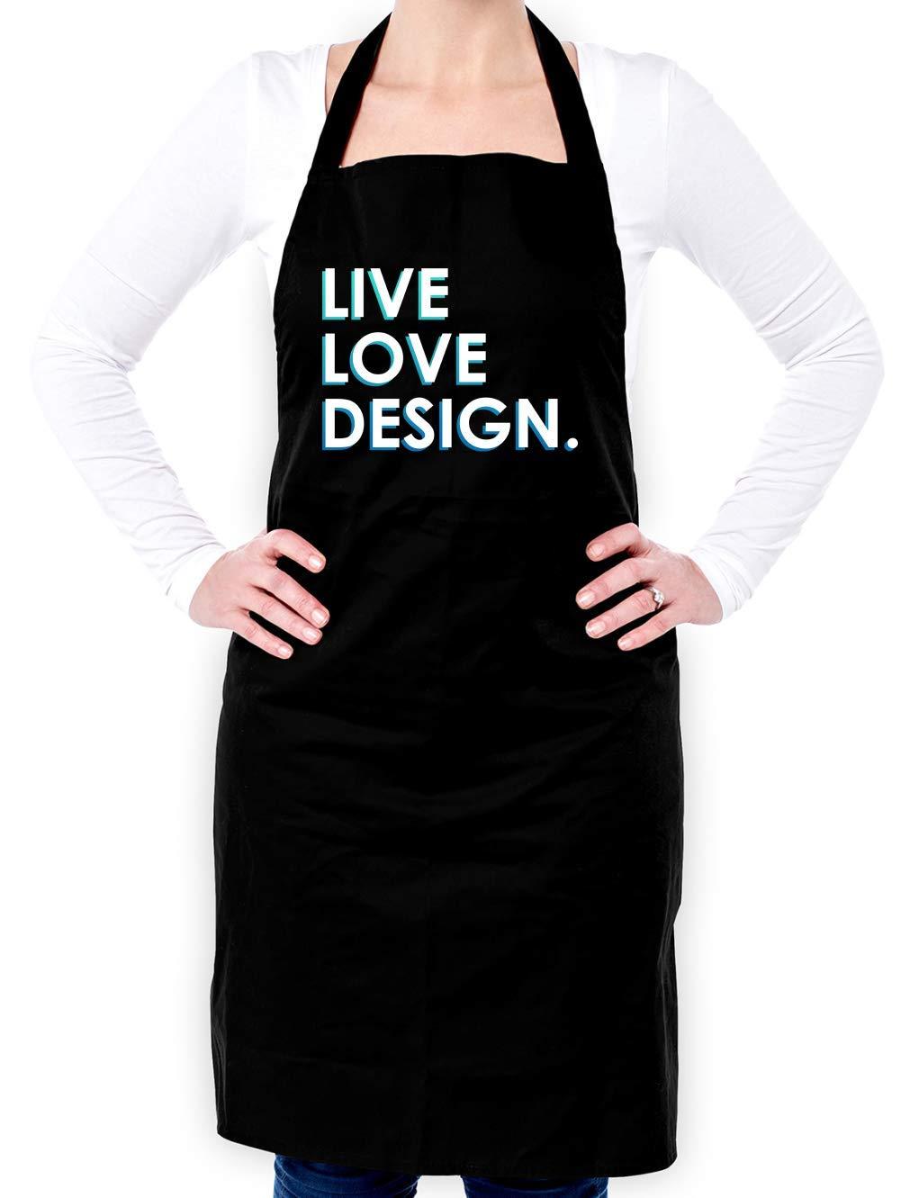 Dressdown Live Love Design - Unisex Adult Apron - Black - One Size
