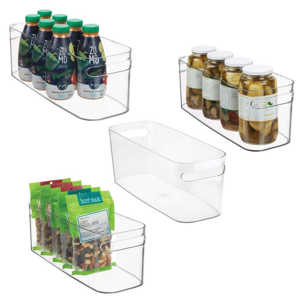 "mDesign Plastic Kitchen Pantry Cabinet, Refrigerator or Freezer Food Storage Bin with Handles - Organizer for Fruit, Yogurt, Snacks, Pasta - Food Safe, BPA Free - 16"" Long, 4 Pack - Clear"