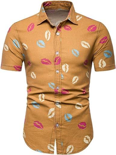 waotier Camisa De Manga Corta con Estampado De Moda para Hombres PatróN De Beso Ropa De Verano para Hombre: Amazon.es: Ropa y accesorios